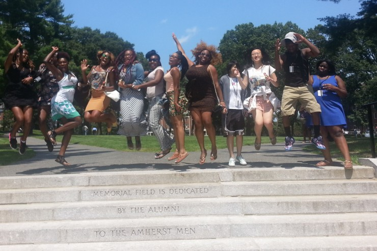 Bowdoin Bound Baltimore Students - Group jumping for joy - 2014 740x493
